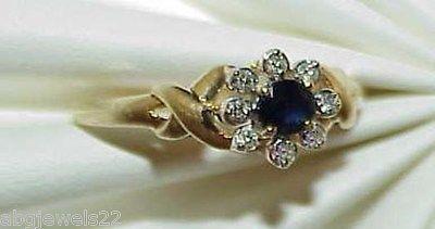 10K Blue Sapphire 8 Diamond X's Ring Yellow Gold Size 7 Daisy Flower Top Center