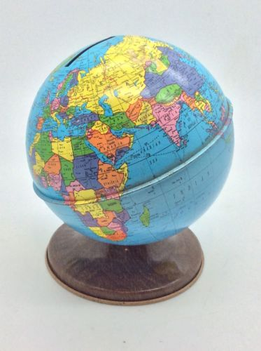 Vintage Metal World Globe Coin Piggy Bank By Ohio Art Co.
