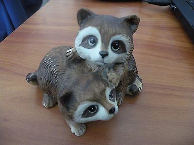 Homco ~ Home Interior Baby Raccoons Figurine  #1454