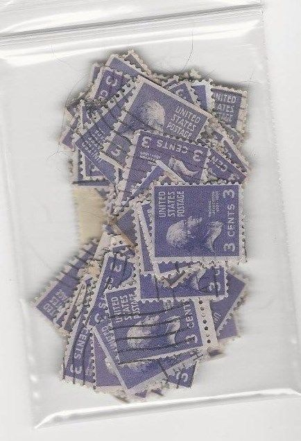100 USED 3 CENT THOMAS JEFFERSON STAMPS