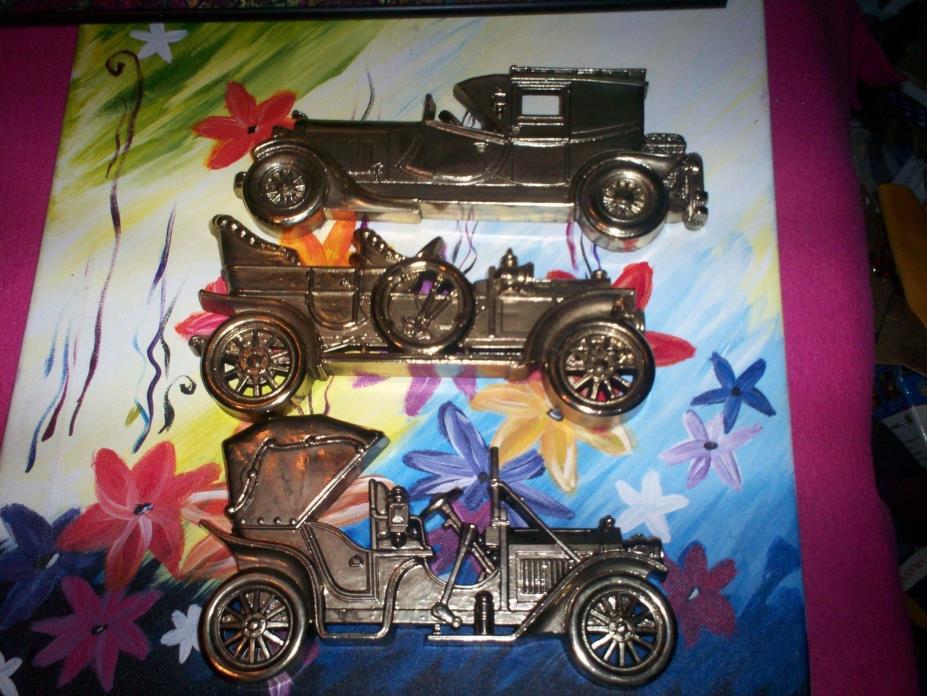 NIB HOME INTERIORS GOLD ANTIQUE CARS 3  MASCULINE DECOR MAN CAVE