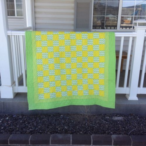 Hand Made Machine Quilted Yellow Green White Baby Child's Quilt 60 X 40