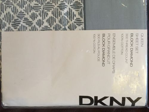 Dkny Block Diamond Grey Blue Queen Sheet Set 300 Thread 100% Cotton
