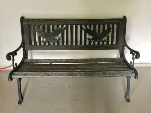 Vintage Wood And Cast Iron Garden Park Bench With American Eagle