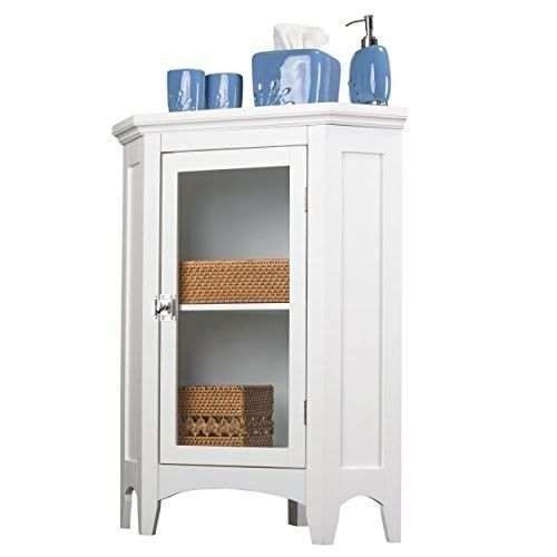 Corner Floor Cabinet Spacesaving Floor Style with Legs Shelf Glass Door White