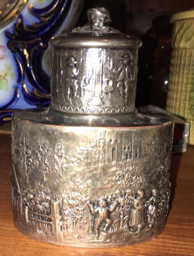 Beautiful ANTIQUE BARBOUR SILVER CO REPOUSSE Victorian TEA CADDY