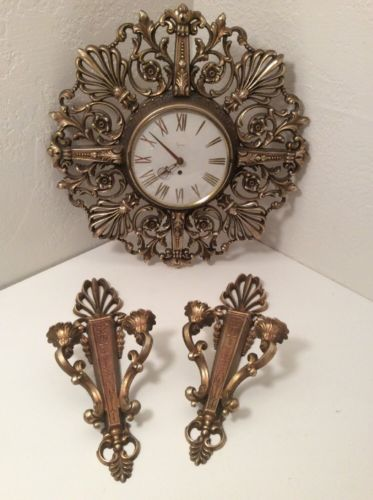 Syroco Ornate Gold Floral Hollywood Regency Wall Clock W/ 2 Candle Holder Sconce