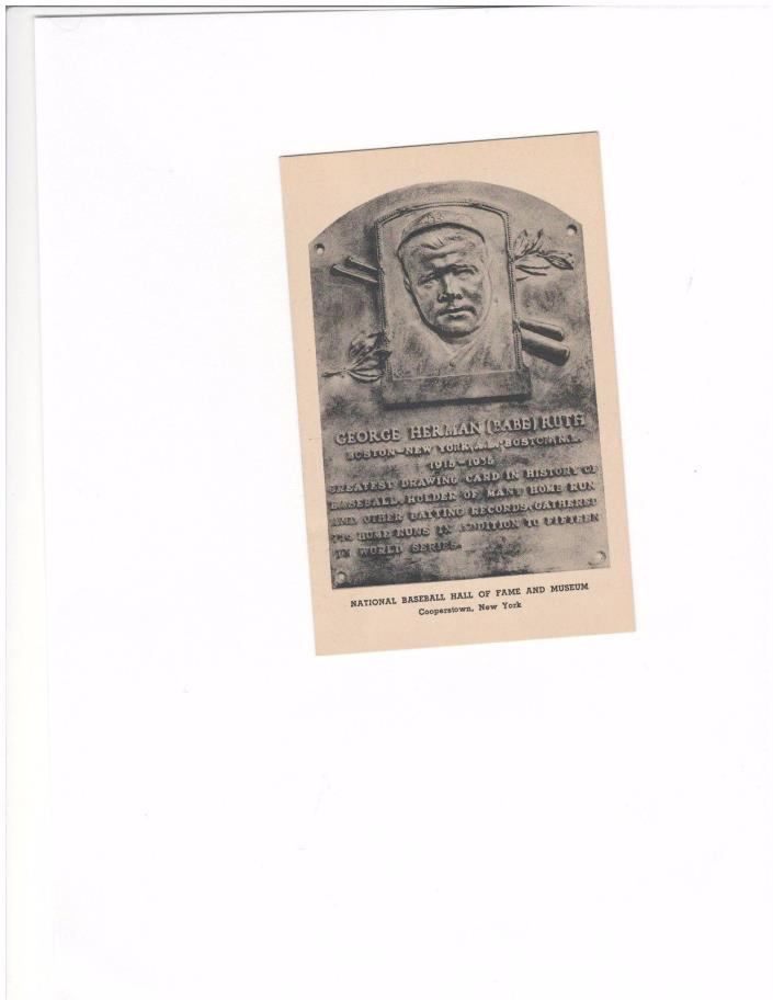 BABE RUTH  HALL OF POST CARD BY ALBERTYPE CO. BROOKLYN