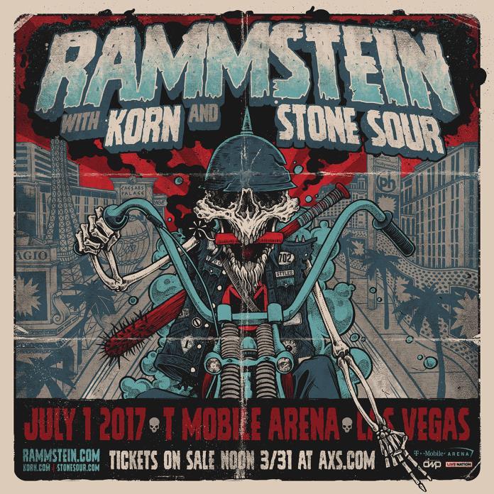 Rammstein Korn Stone Sour GA FLOOR Ticket T-Mobile Arena Las Vegas 7/1/2017