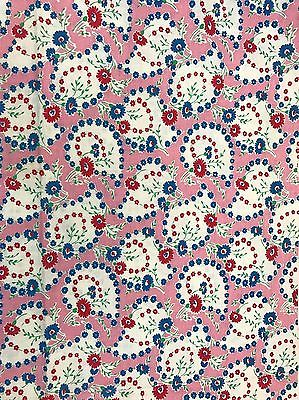 Vintage PERFECT Feedsack Fabric - Novelty PINK / BLUE Florals - Sewing Quilting