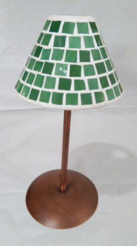 Mosaic Green Stained Glass Tea Light Lamp Candle Holder