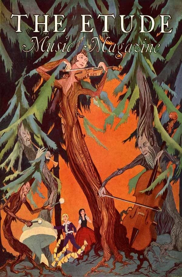 **1928 MUSIC ART TREE SPIRIT WOOD BAND CONCERT CELLO VIOLIN FLUTE POSTER 317402
