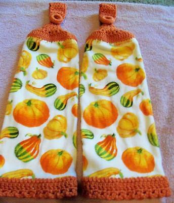 Colorful Gourds Fall Design Kitchen Hanging Towels Handmade Crochet Hanger (2)