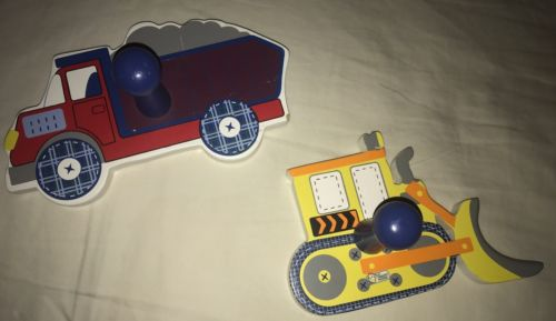 Kids Bedroom Decore. Two Wall Hooks. Construction Theme. Dump truck Tractor