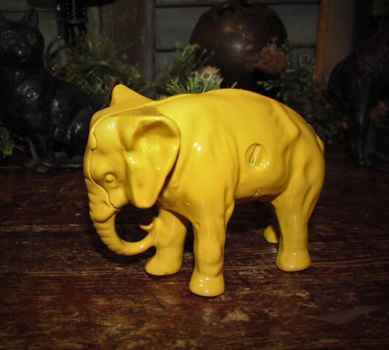 Antique Vtg Original Arcade Cast Iron Yellow Elephant Penny Bank Restored Paint