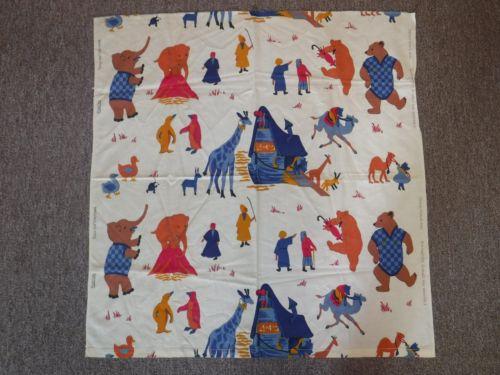 Vintage Puritan Noahs Ark Whimsical Cotton Fabric Remnant 34