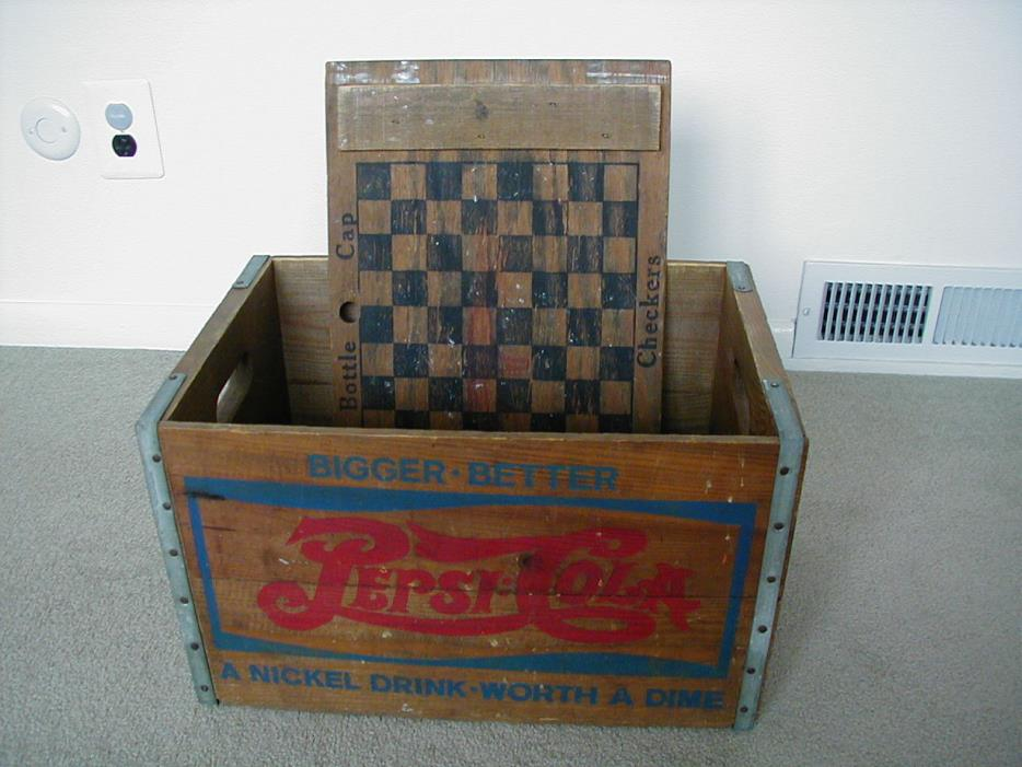 ~~PEPSI-COLA~~VINTAGE CRATE~~BOX~~CARRY CASE~~WOOD~~CHECKER BOARD~~W/TOP~~EX~~