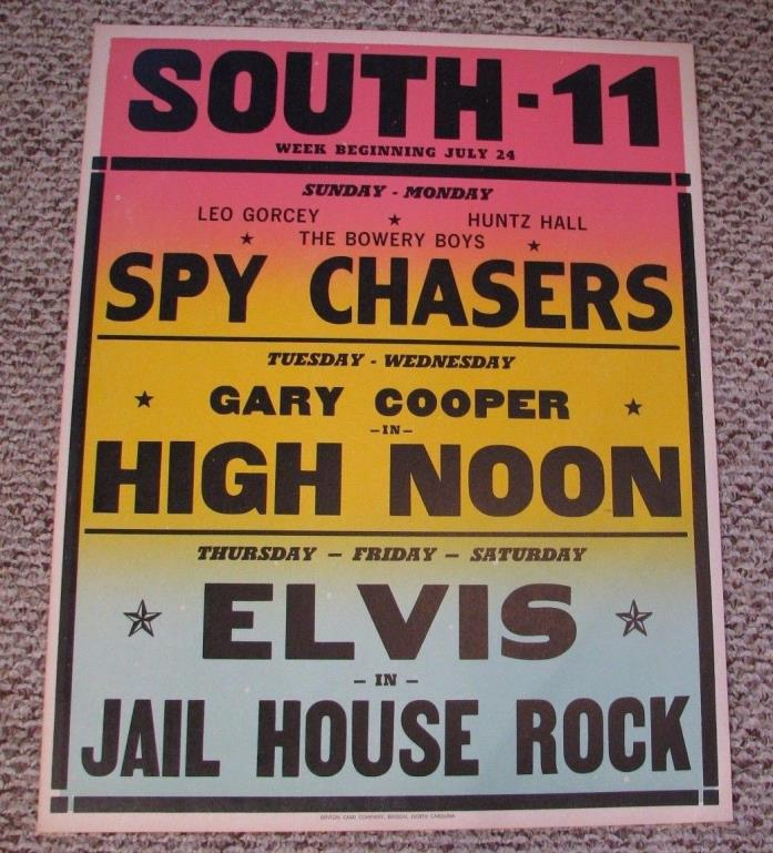 VINTAGE NC South 11 Drive In Movie Theater LG POSTER Elvis Presley Gary Cooper