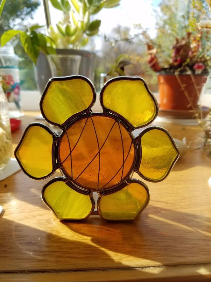 Stained Glass Yellow Sunflower Candle Holder Unique
