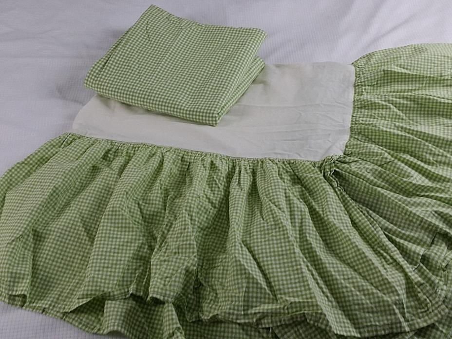 Pottery Barn Kids Green Gingham Twin Size Bed Skirt and Curtain Panel