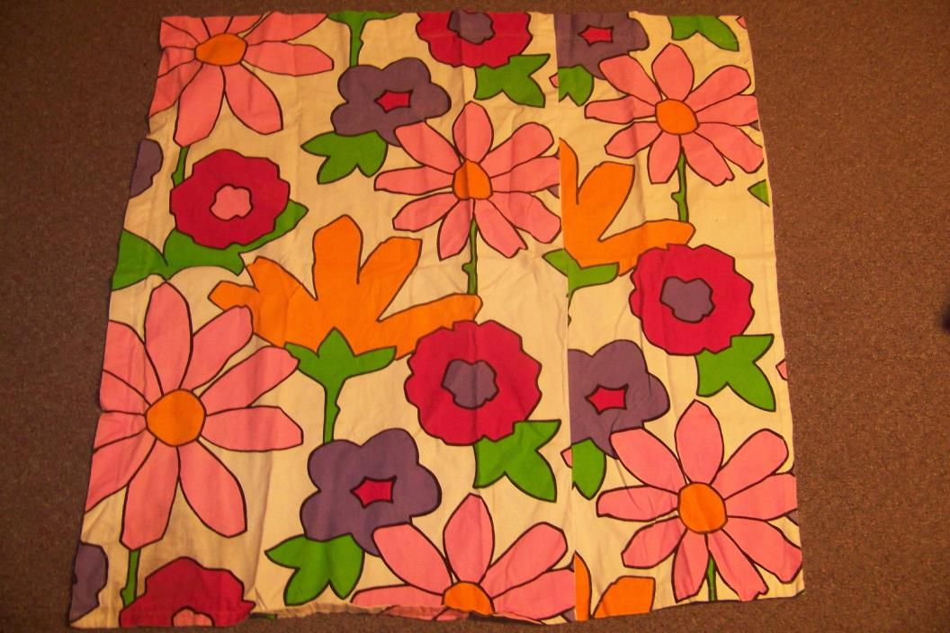 Vtg 60s 3 Yds Fabric Floral Hippie BIG Neon Flower Power Groovy 3 curtain panels