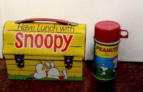 RARE Blue Cup 1970 Have Lunch W/ Snoopy Metal Dome Lunch Box & Glass Thermos Set
