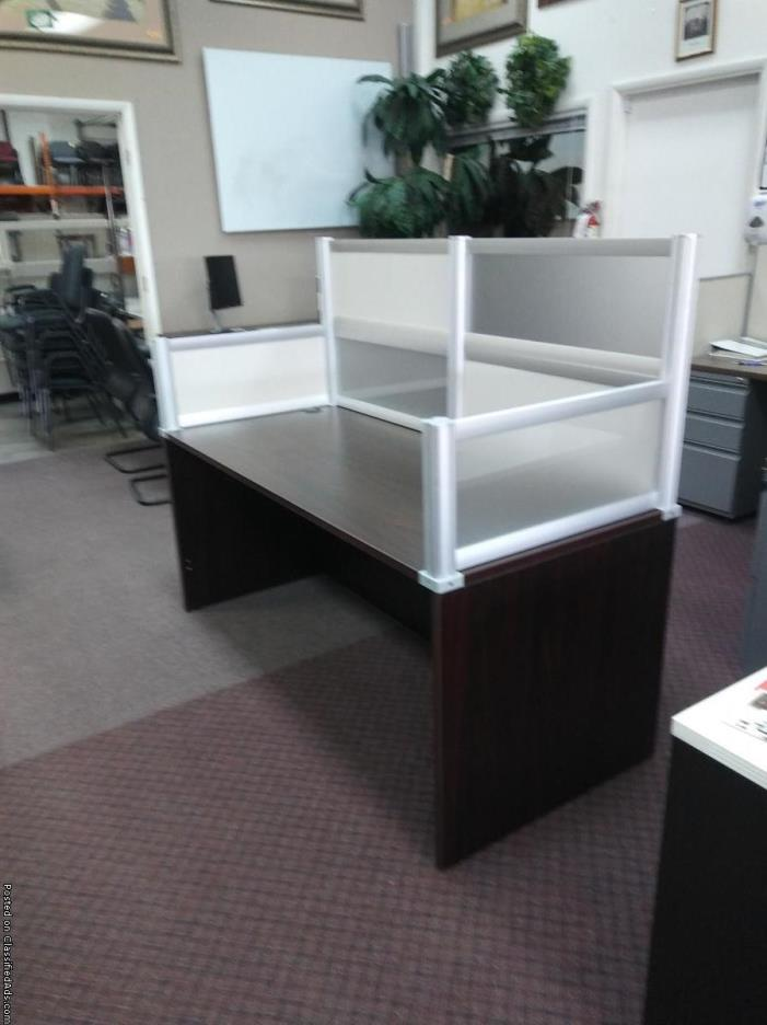 STRAIGHT DESK W/ PLEXI-GLASS PRIVACY PANELS