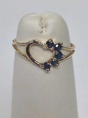 Natural Sapphire Heart Ring For Children Solid 10kt Yellow Gold