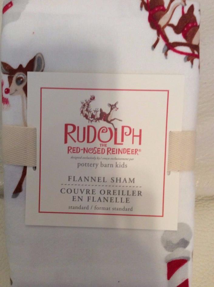 Pottery Barn Kids Rudolph Flannel Standard Sham NIP! Christmas Holiday