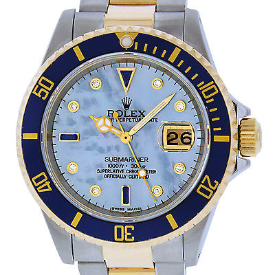 MENS ROLEX S/STEEL AND 18K YELLOW GOLD BLUE MOP SUBMARINER 16613 DIAMOND WATCH