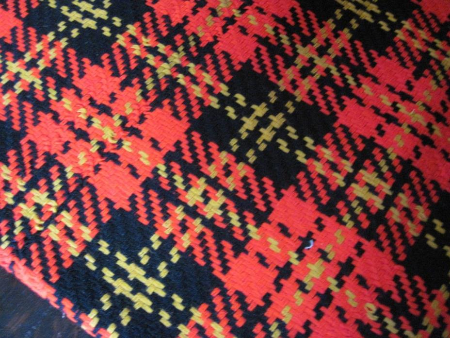 Vtg 60s 70s Red Plaid Woven Acrylic Bonded Fabric Red Blk Gold Plaid 60