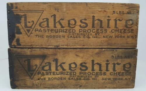 (2) Vintage Lakeshire American Cheese Bordon Dairy New York Wood Cheese Boxes