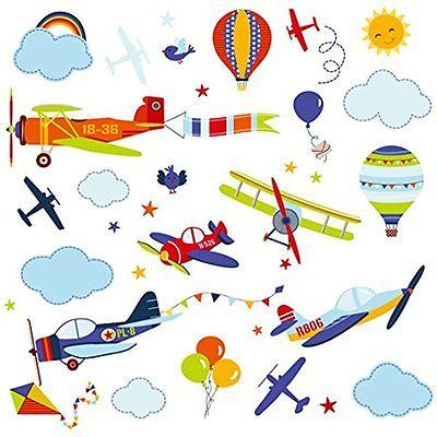 Airplanes Wall Decor Nursery NurseryBoys Room Peel & Stick Wall Art Sticker Fast