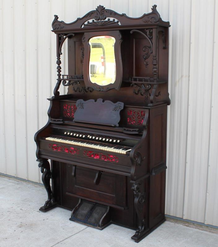 RARE 1870 1880s OLD FIN SOLID WALNUT VICTORIAN LION HEAD CLAW FEET PARLOR ORGAN