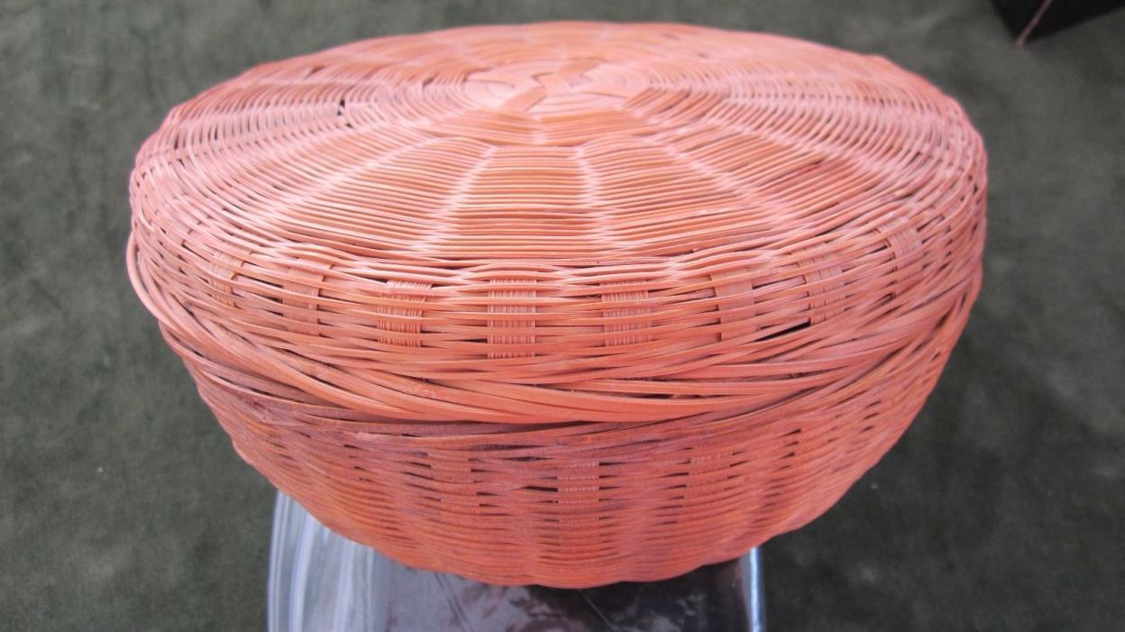 vintage basket with lid  fine weave