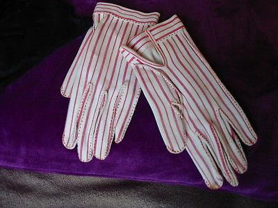 Vintage Gant Hermes Women's Gloves Cotton Paris 1940's 50's Candy Stripe Small