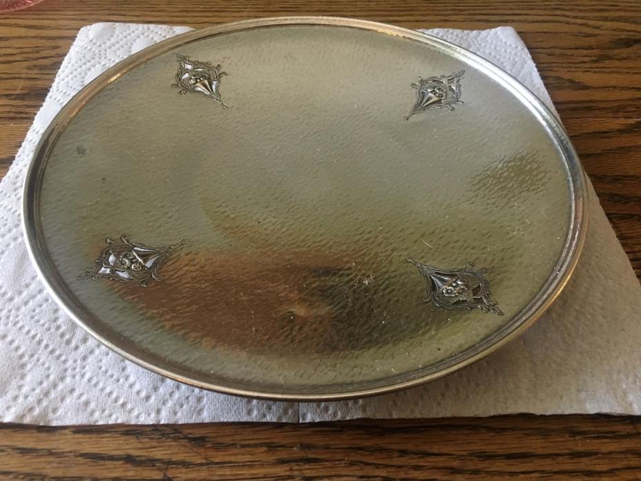 Vintage Homan Plate on Hammered  Nickel Silver  Dish/Plate