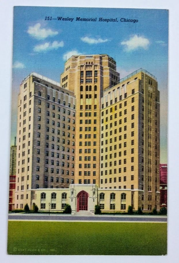 Chicago, IL~Wesley Memorial Hospital~cathedral of healing~515 beds~22 Story Bldg