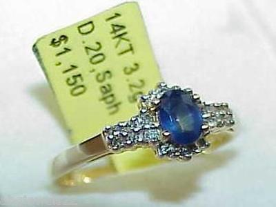 14K Blue Sapphire Oval 18 Diamond Ring Yellow Gold New w/ Tag