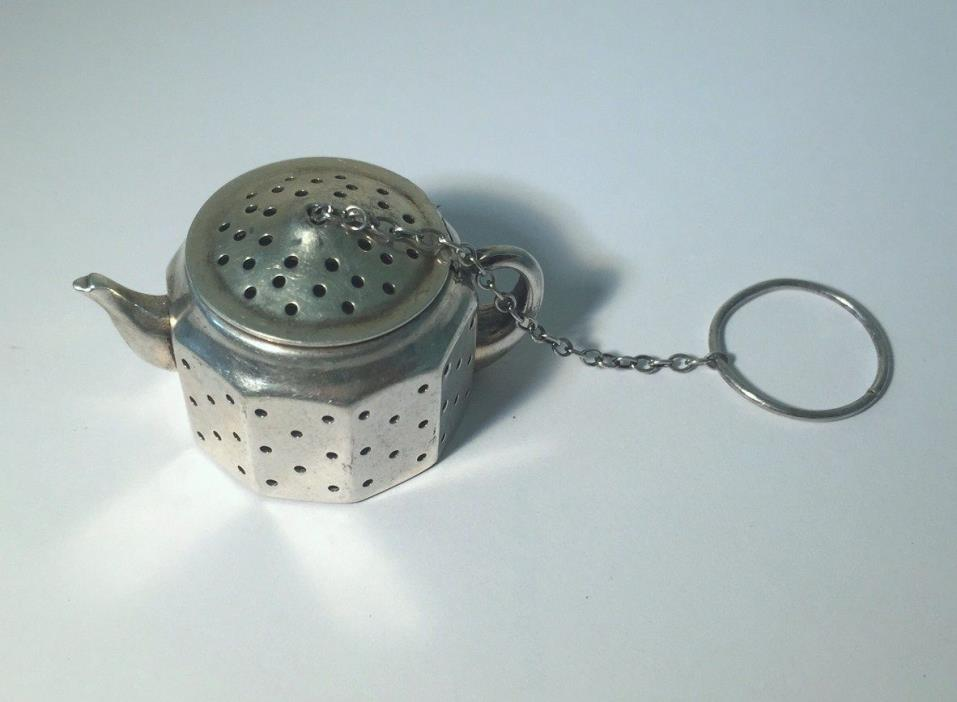 Sterling Silver Teapot Infuser Keychain by Amcraft Attleboro Mass