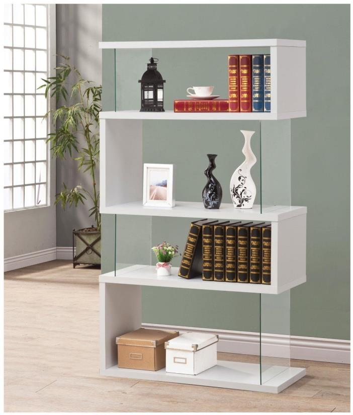 Coaster Bookcases Asymmetrical Snaking Bookshelf Glossy White 800300 New