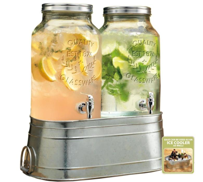 2 Clear Glass 1.5 Gallon Iced Tea Party Beverage Drink Dispensers Metal Stand