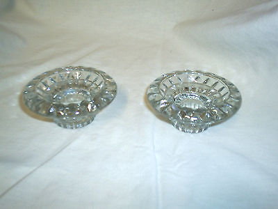 Firna Candle Holders, 2  Votive Holder Round Lead Clear Glass taper to 1 1/2
