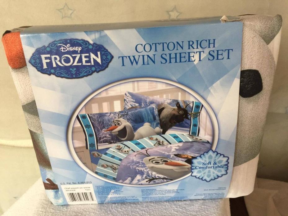 Disney Frozen OLAF Cotton Rich Twin Sheet Set NIP