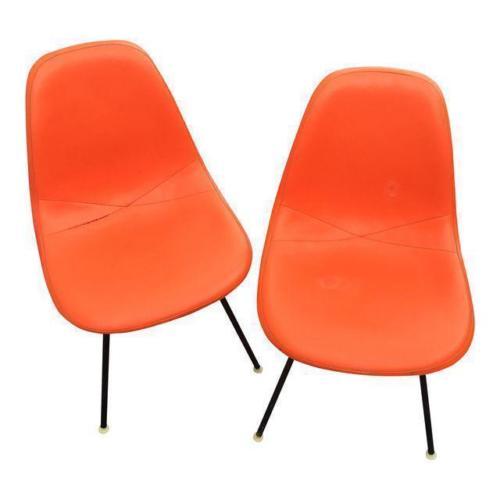 1959 Eames Herman Miller Upholstered Fiberglass Side Shell Chair Mid Century Mod