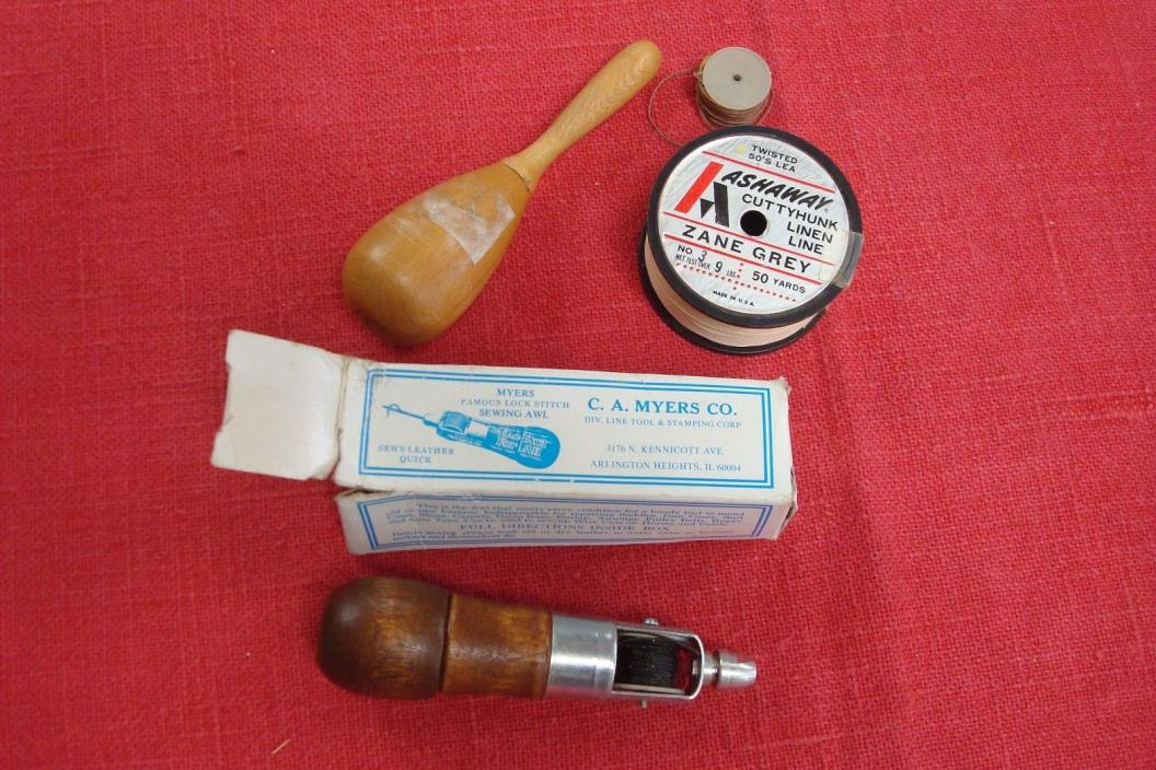 CA Myers CO Combination Leather Lock Stitch Sewing Awl Wood Handle Box & extras