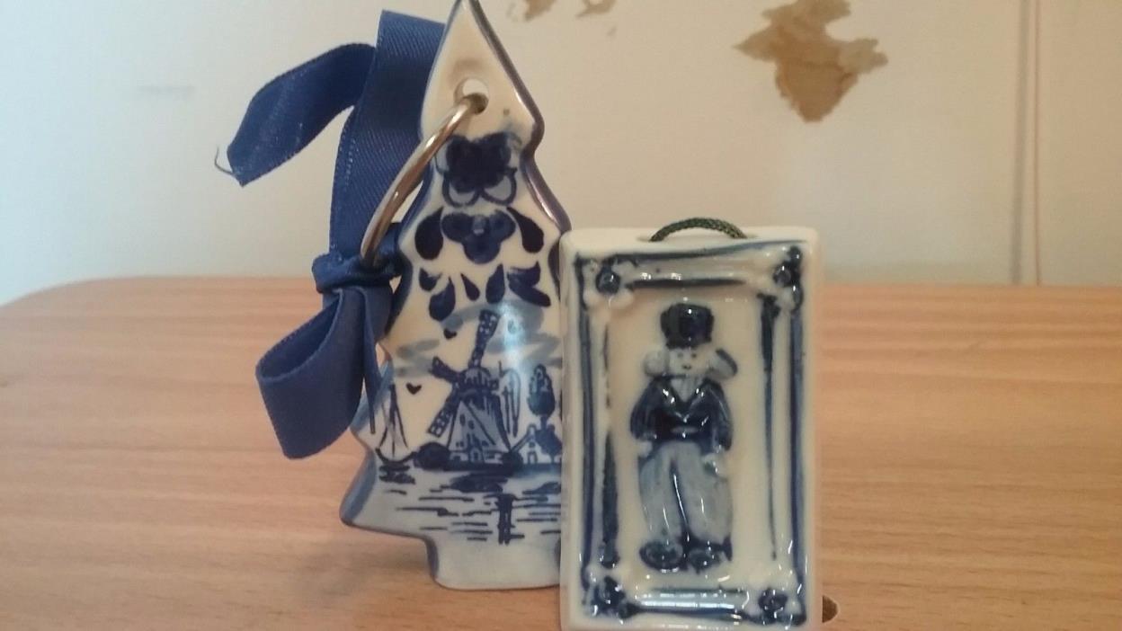 Holland Delft Blue  Porcelain Ornaments/Figurine Pair