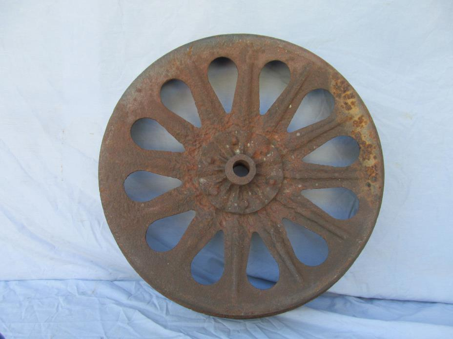 Vintage Antique Steel Metal Tractor Belt Wheel