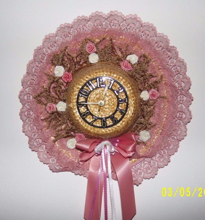 WALL CLOCK THAT IS ALSO A PINK-LACE SUNHAT!  KEEPS GREAT TIME TOO!
