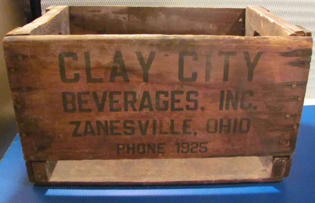 Antique CLAY CITY BEVERAGES INC ZANESVILLE OHIO Phone 1925 WOOD CRATE Wooden